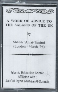 Timimi's advice to the salafis image